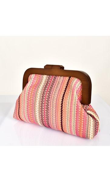 Pink Pattern Weave Frame Clutch