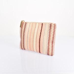 Peach Pattern Weave Pouch