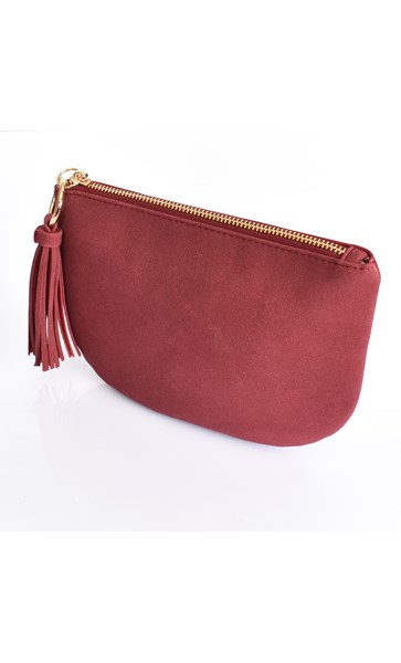 Faux Suede Curved Pouch