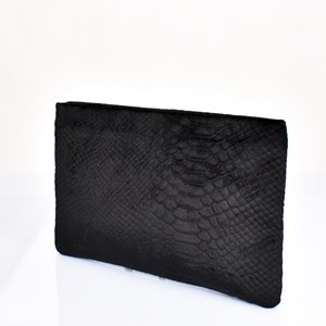 Velvet Reptile Recessed Zip Clutch