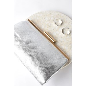 Clip Top Metallic Frame Clutch