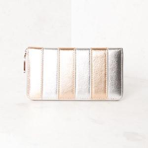 Striped Zip Around Wallet