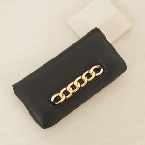 Metal Chain Front Zip Around Wallet