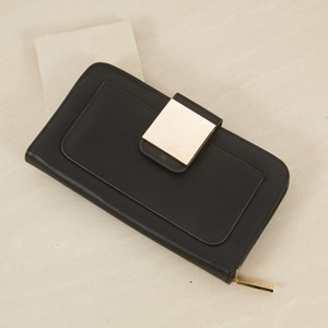 Flap Over Metal Square Wallet