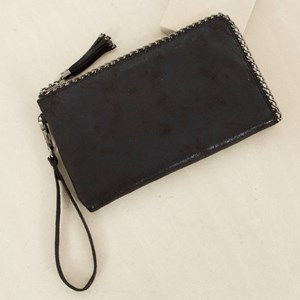 Aged Metallic Chain Edge Clutch Wallet