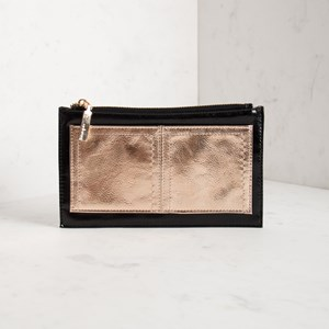 Two Tone Metallic Front Pocket Zip Wallet