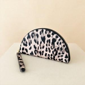 Leopard Print Half Circle Zip Wallet