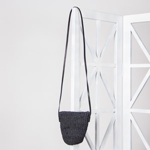 Mini Woven Leather Strap Pouch Bag
