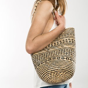 Borneo Woven Circle Base Bucket Bag