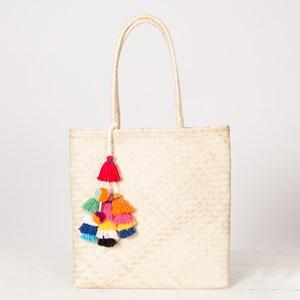 Multi Tassels Charm Woven Tote Bag