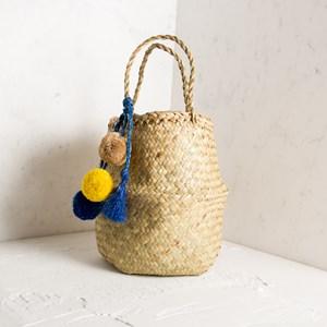 Raffia Pom Pom & Tassel Charm Belly Basket