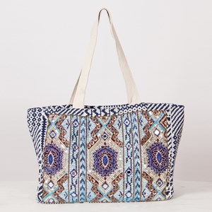 Embellished Beaded Panel Fabric Tote Bag