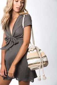 Beaded Stripes Drawstring Bucket Bag
