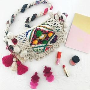 OS Multi Patch Crochet Pom Pom Tassel Bag