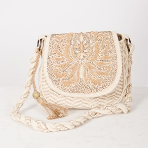 OS Embroidered Flapover Tassel Bag