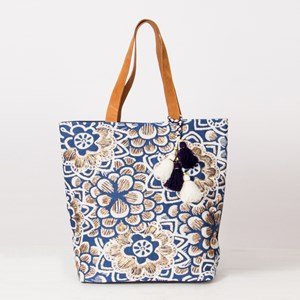 Beaded Flower Print Pom Pom Leather Handle Tote