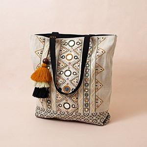 Golden Girl Mirror & Sequin Stitch Tassel Tote Bag