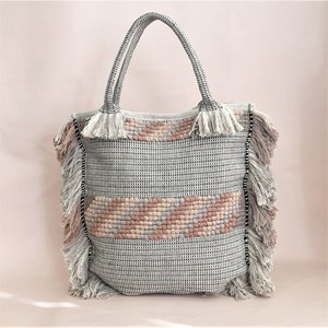 Knotted Panels Fringe Edge Market Tote Bag