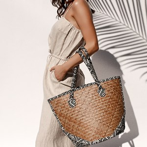 Fabric Edged Basket Weave Tote