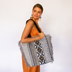 Beaded Front Patterned Tote