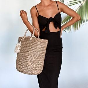 Weave Tassel Round Basket