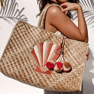 Embroidered Shell Pandan Weave Tote