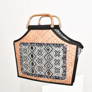 Beaded Panel Rattan Timber Handle Tote Bag