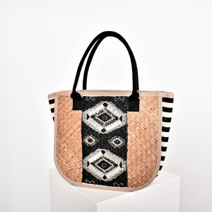 a2608dfdbe Beaded Panel Stripe Gusset Rattan Tote Bag