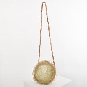 Tulum Metallic Weave Fringe Round Bag