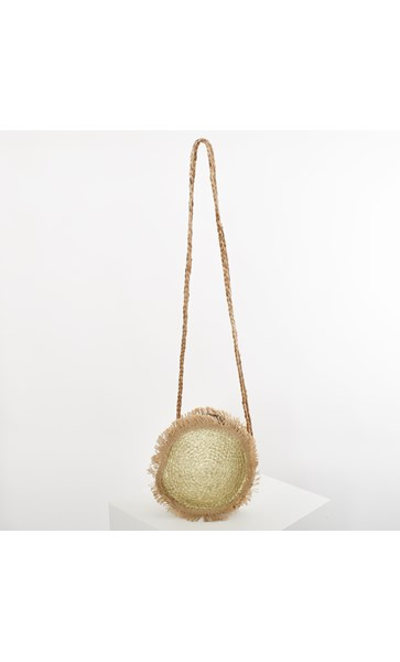 Tulum Metallic Weave Fringe Round Bag