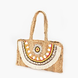 Shell Fringe Weave Small Bag