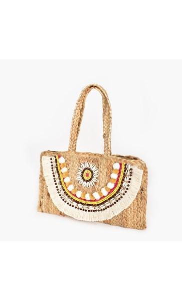 Shell Fringe Weave Small Bag