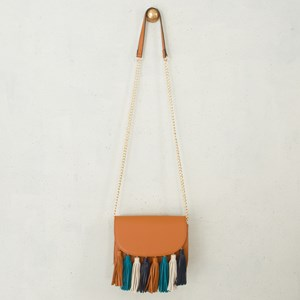 Multi Tassel Curved Flap Over Small Bag