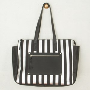 Pocket Front and Stripe Hand Bag