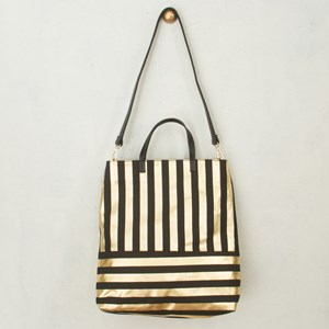 Metallic Stripe P.U Handle Tote