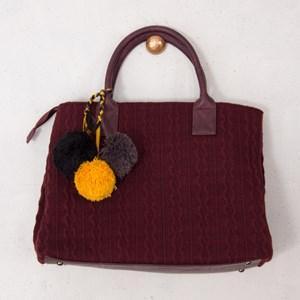 Knitted Pom Pom Tote