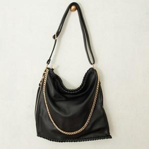 Stitch Edge Zip Sides Shoulder Bag
