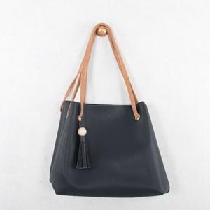Ball & Tassel Charm Four Handle Shoulder Bag