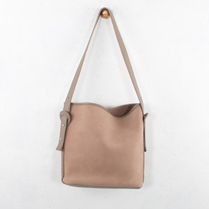 Faux Suede Trimmed Bucket Bag