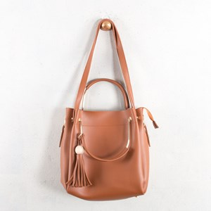 Metal Handle Ball & Tassel Charm Shoulder Bag