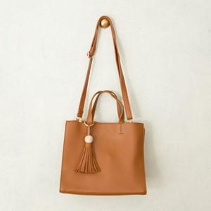 Double Compartment Ball & Tassel Charm Handbag