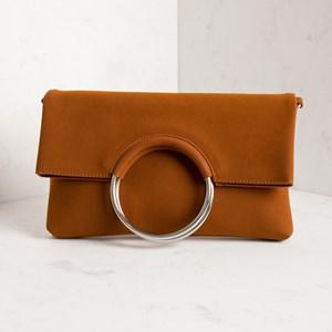 Metal Ring Suede Foldover Clutch Bag