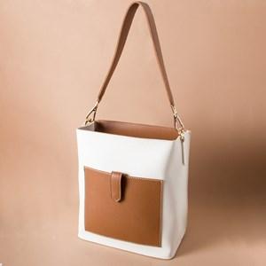 Two Tone Pocket Front Lychee Handbag
