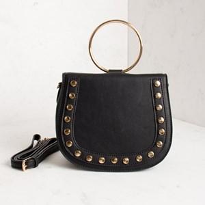 Metal Ring Stud Edge Saddle Small Bag