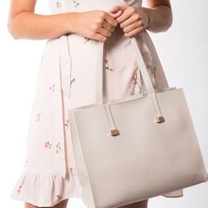 Contrast Stitch Wide Tote Bag