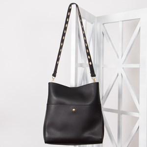 Eyelet Handle Zip Front Wide Handbag