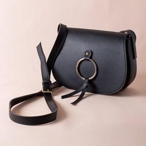 Flap Over Metal Ring Saddle Cross Body Bag