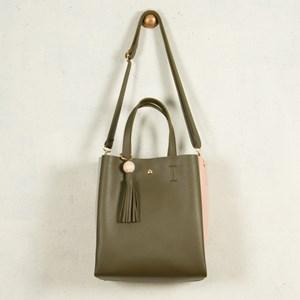 Tri Tone Panelled Timber Ball & Tassel Bag