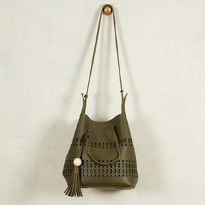 Triangle Cutouts Timber Ball & Tassel Bag