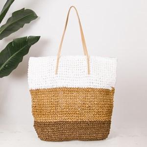 Tri Tone Panelled Paper Raffia Tote Bag